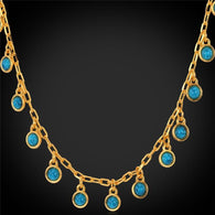 Choker Necklace 2015 Fashion Jewelry For Women Green Collares Vintage Fashion Jewelry 18K Gold Plated Turquoise Necklace N746 - GKandAa - 1