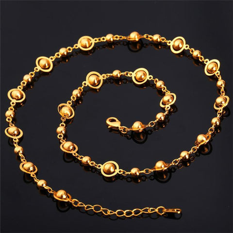 Fashion Beads Chain Necklaces  / Platinum / 18K Gold Plated 50CM+5CM-GKandaa.net