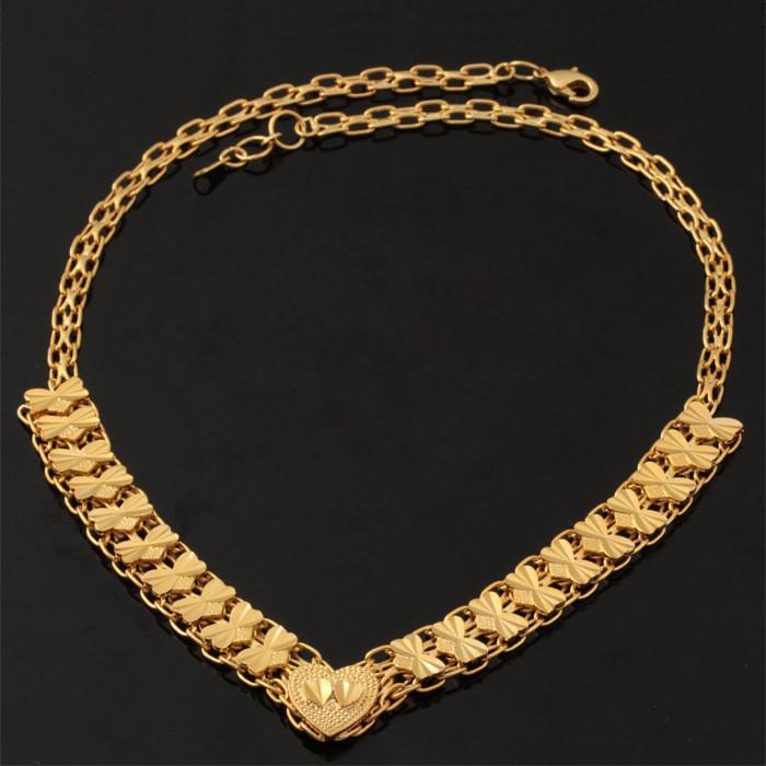 Necklaces Couple Heart 18K Real Gold Plated Wives 46CM Gift N232-GKandaa.net