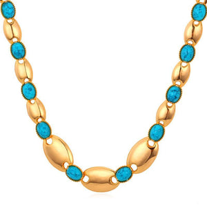 Necklaces Summer lace 18K Real Gold Plated Gift Synthetic Turquoise-GKandaa.net