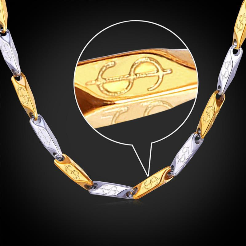 Necklaces Dollar 18K Real Gold Plate Stainless Steel 2-Toe fashion-GKandaa.net