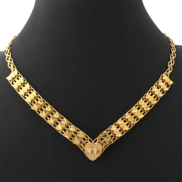 Necklaces Wedding 18K Real Gold Plated 46CM Heart Vintage N230-GKandaa.net