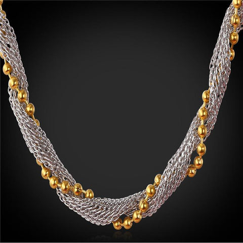 Necklaces With Stamp Party Gift 18K Real Gold Plated Bead stainless-GKandaa.net