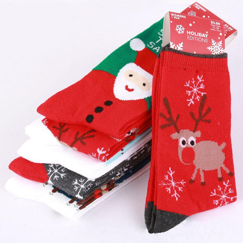 Men's Socks The cotton Christmas day Santa deer snow snow cotton-GKandaa.net