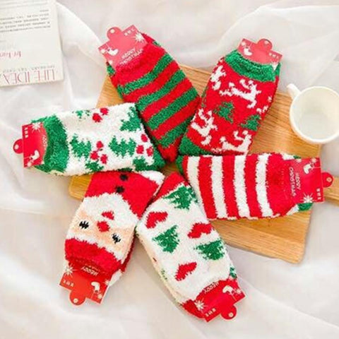 Women's Socks El old warm coral fleece velvet Christmas Socks Gift-GKandaa.net