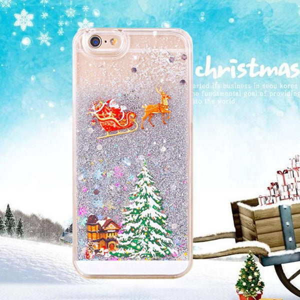 Hot Cute Santa Claus Glitter Star Flowing Liquid Case For iPhone 5 5S 6 6Plus Christmas Tree Transparent Clear Cover Phone Cases - GKandAa - 1