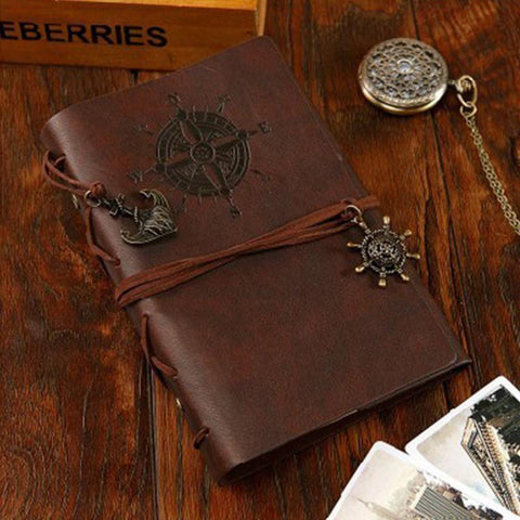Vintage Notebook PU leather pirate diary stationery office school-GKandaa.net