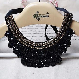 Vintage Beaded Collar made-up Crystal Beads Charm Lace-GKandaa.net