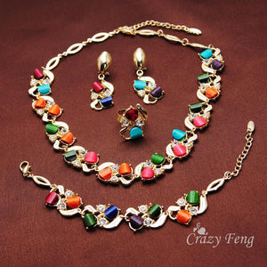 Jewelry Sets 18 Yellow Gold Plated Colorful Austria Crystal lace-GKandaa.net