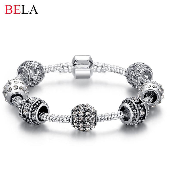 Charm Bracelets Silver Tone Bracelet for Women With High Quality Glass Beads - GKandAa