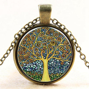 Jewelry Retro vintage Lady Tree of Glass Pendant Necklaces-GKandaa.net
