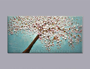 Art Oil Hand-painted picture 100% home-made Cherry Blossom tree canvas-GKandaa.net
