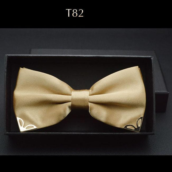 Luxurious Men's Bow Ties  Metal Angle Decoration Red Navy Blue Gold Yellow-GKandaa.net