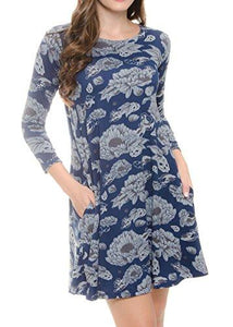 Long Sleeve Casual Dress with Pockets for Woman 44 Colors