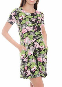 Floral Print Short Sleeve Casual Dress with Pockets for Woman 44 Colors