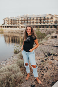 Women's Square Logo tee in black with silver