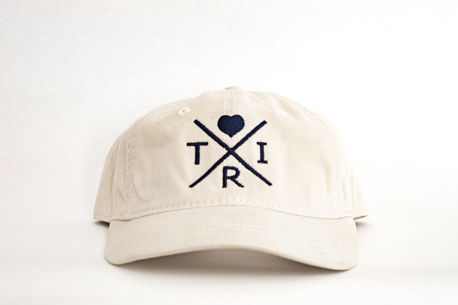 X Heart soft hat in stone with navy