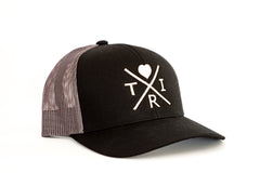 *NEW* X Heart hat in black/charcoal with rose gold(Snapback)
