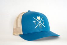Load image into Gallery viewer, X Heart hat in ocean blue with cream(snapback)