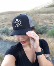 Load image into Gallery viewer, X Heart hat in black/charcoal with rose gold(snapback)