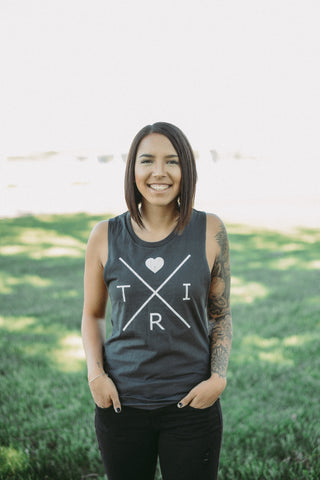 *NEW* Women's X Heart muscle tank in gray