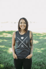 Women's X Heart muscle tank in gray