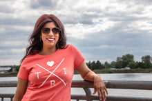 Load image into Gallery viewer, Women's X Heart tee in coral