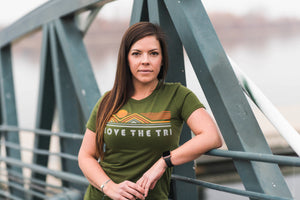 Women's L-TRI t-shirt in olive green