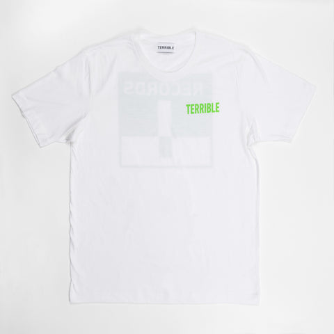 Terrible Records White Logo Tee (Green Ink)
