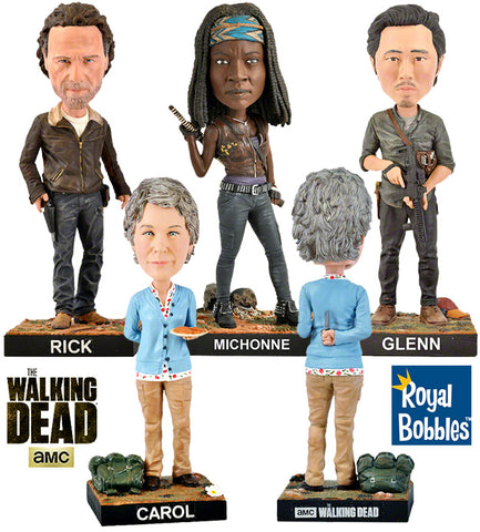 The Walking Dead Bobble Heads Royal Bobbles: Rick, Michonne, Glen e Carol