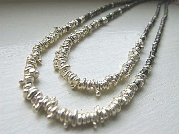 Pyrite Droplet Necklace