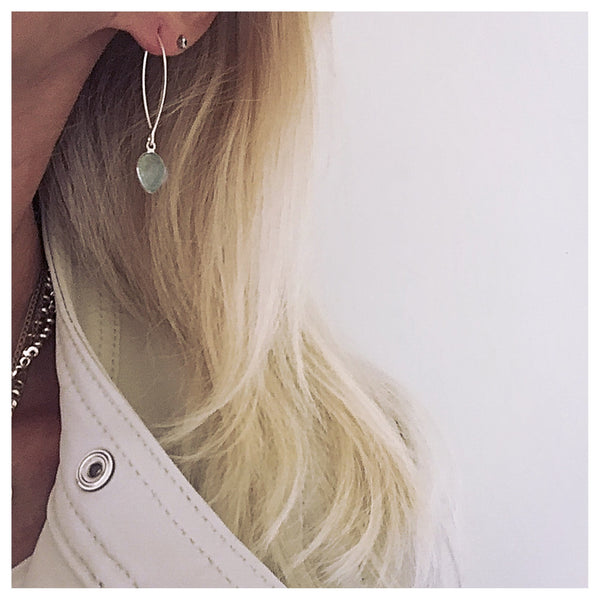 Chalcedony Gem Petal Earrings