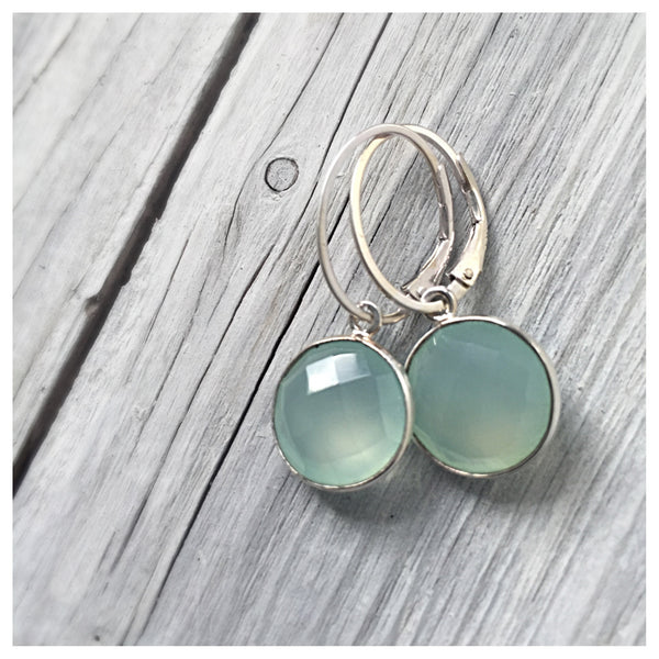 Aqua Chalcedony Gem Drop Earrings