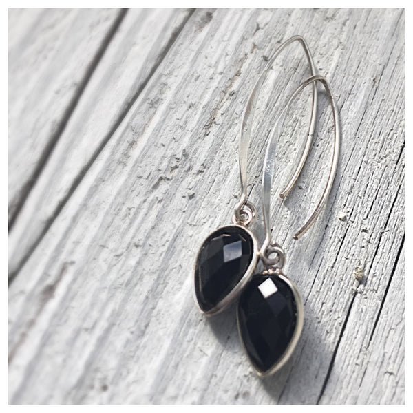 Onyx Gem Petal Earrings