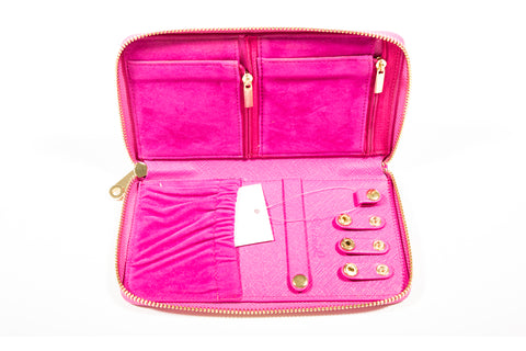 Chrisil Jewelry Organizer Travel-Hotpink