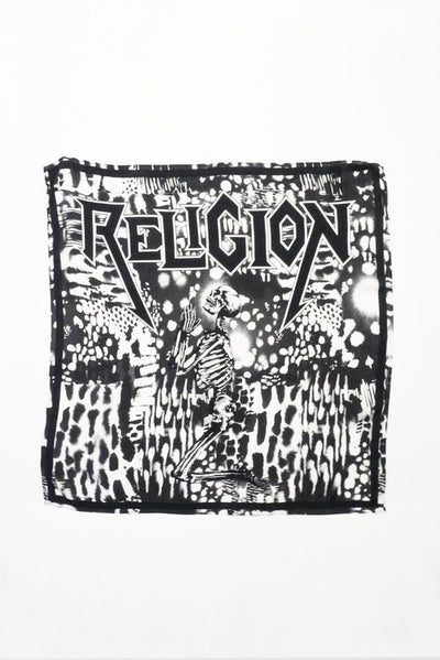 RELIGION GEORGETTE SCARF WITH ABSTRACT PRINT AND SKULL 51IFSS21