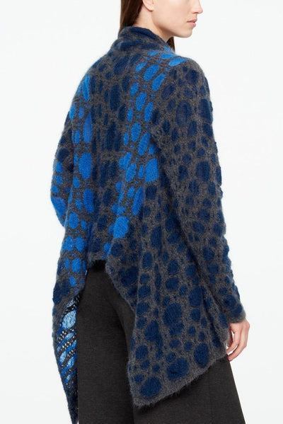 SARAH PACINI SHORT CROCHET KNIT DISK PATTERN LONG SIDES BLUE CARDIGAN 2021123
