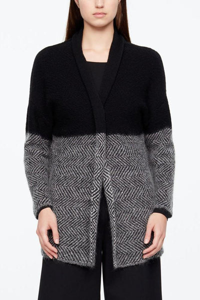 SARAH PACINI SOLID TOP TWEED MOHAIR BOTTOM PIN DETAIL LONG SLEEVE CARDIGAN 20211148