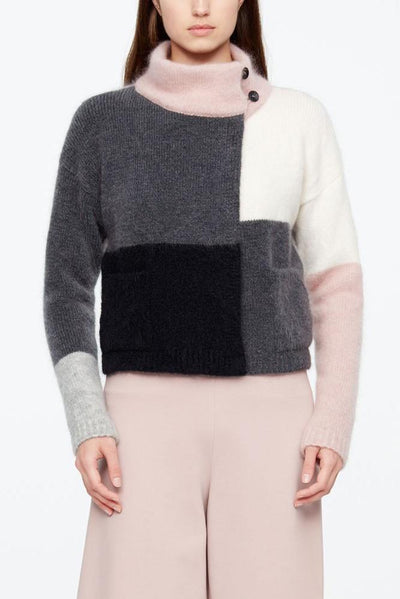 SARAH PACINI SHORT FUNNEL NECK MULTI COLOUR BLOCK MOHAIR-MERINO CARDIGAN 20211164-65