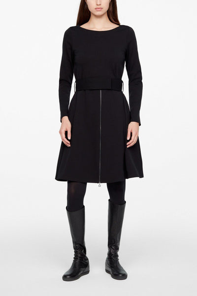 SARAH PACINI BLACK BOATNECK LONG SLEEVE A-LINE BELTED DRESS 20213038