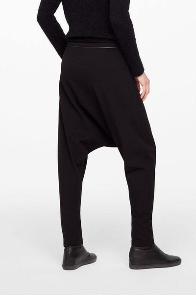 SARAH PACINI HEAVY STRETCH HAREM DROP CROTCH TROUSERS ZIP POCKETS 20213043