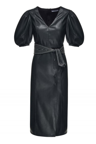 BEATRICE B MOCK LEATHER HALF PUFF SLEEVE BELTED MIDI DRESS 20FA6374790