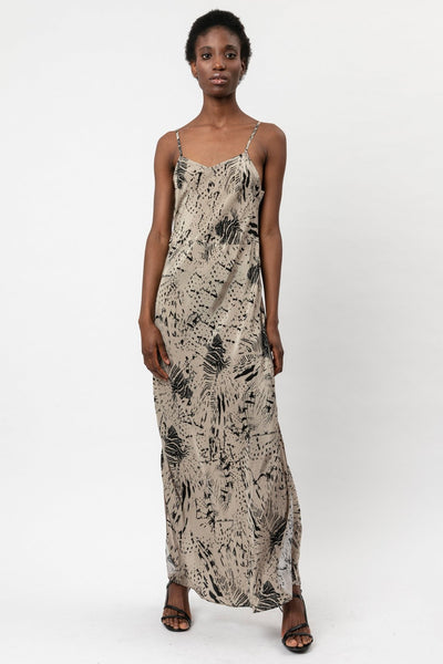 RELIGION TAUPE MAXI WRAP SLIP DRESS WITH ROOT PRINT 51IRTD06