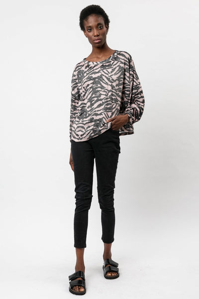 RELIGION ZEBRA PRINT TOP WITH SQUARE BATWING SLEEVE 51TMFT19