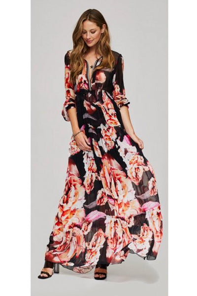 70S LONG SLEEVES MAXI DRESS, FLOWER PRINT 960-29 - Lizardfashion