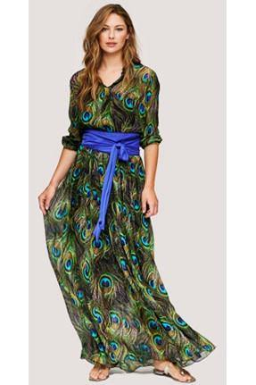 BEATE HEYMANN LONG SLEEVE PEACOCK MAXI DRESS  910-18 - Lizardfashion