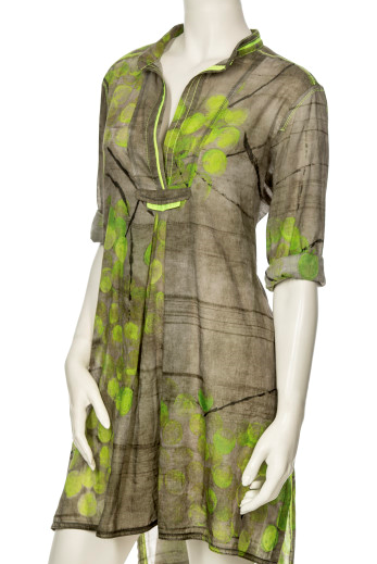 SILK TAFFETA TUNIC WITH PEAR PRINT 937-6 - Lizardfashion