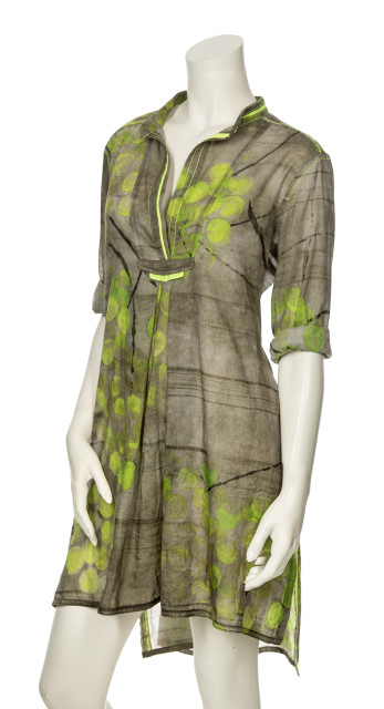 SILK TAFFETA TUNIC WITH PEAR PRINT 937-6