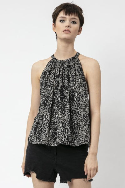 RELIGION CHIFFON RACER BACK TOP WITH LEOPARD PRINT 51HCOT22