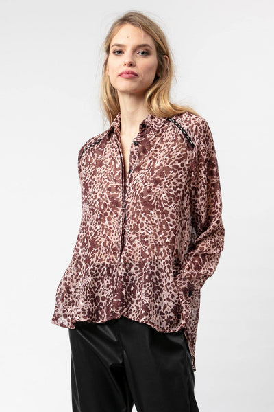RELIGION OVER SIZED GEORGETTE ANIMAL PRINT PEPLUM SHIRT 70HAFH63489